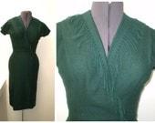 Curve-Hugging 1950's Dark Green Felted Wool Fringed Wrap Wiggle Dress 38-24-38