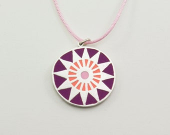 MANDALA sterling silver and polymer clay pendant in purple, orange and pink