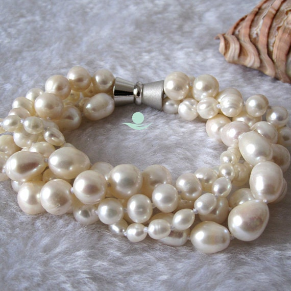 Pearl Bracelet - 7-8 inches 4-10mm 4 Row White Freshwater Pearl Bracelet - Free Shipping