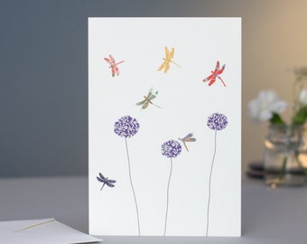 Dragonflies & Aliums Card