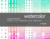 """Modern Digital Paper + watercolor - 062  + Scrapbook Quality Paper Pack  (12 x 12""""- 300 dpi)   6 sheet pack + Instant Download - Ombre Neon"""