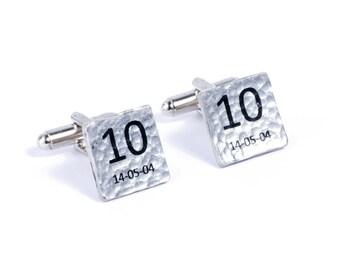 10th Wedding Anniversary Personalised Cufflinks