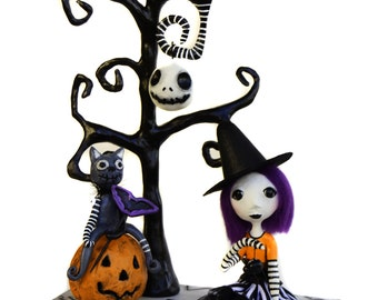 Custom Art Doll - Halloween Dolls - Halloween Decor - Halloween Cat - Halloween Tree