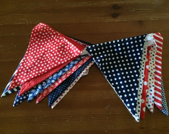 Patriotic Banner - Bunting - Garland - Fourth of July - 4th of July - Independence Day - Red, White and Blue
