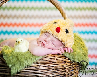 Fuzzy Chick Beanie Baby Newborn Crochet Photography Prop