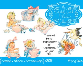 Digital Clipart, instant download, vintage baby clip art, baby illustrations, stork, cradle, rattle, blue pink, cute babies, png files  205