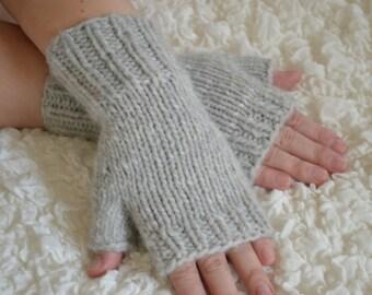 Hand-knitted fingerless women's gloves, wool grey arm warmers, handmade wool fingerless gloves, hand knit  wool winters gloves