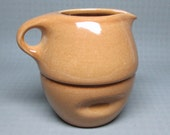 RUSSEL WRIGHT stack creamer and sugar iroquois casual brown =  ripe apricot . stacking
