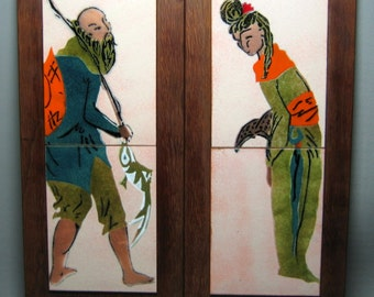 enamel on copper wall hanging plaques , oriental man and woman mid-century modern maybe Judith Daner ?