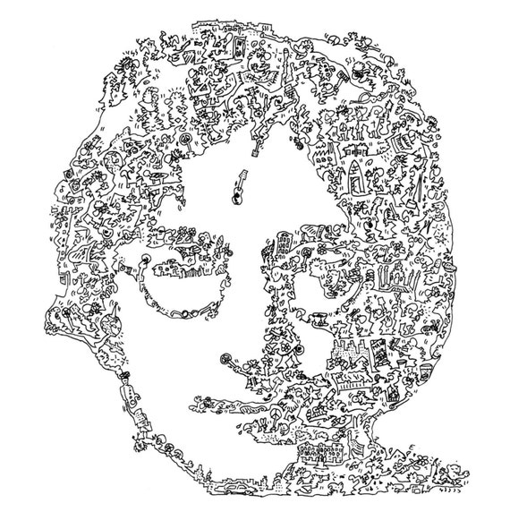 Line Drawing John Lennon : John lennon hand made biographical drawing indian by pagazine
