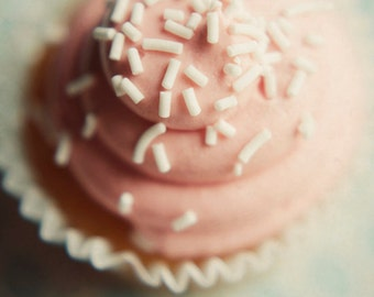 cupcake photograph, pink nursery decor, pink and white decor, food photograph, kitchen decor,girly decor,cupcake print,pastel decor