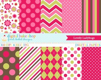 ladybugs digital papers lady bugs - Lovely Ladybugs Papers