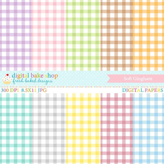 digital papers gingham soft pastel - Soft Gingham Digital Papers