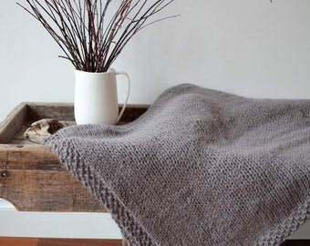 Knit Alpaca Throw Blanket | Hand knitted