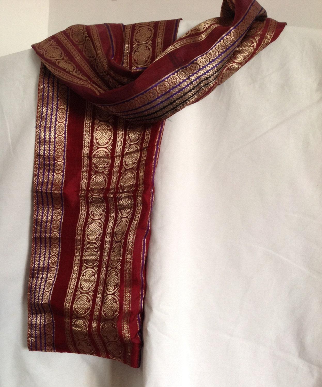 silk stole scarf indian silk sari stole made from