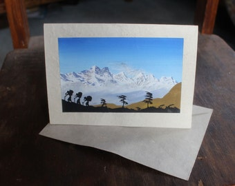 Lokta Paper Hand Painted Himalayan Porters Special Occasions Card - PC301