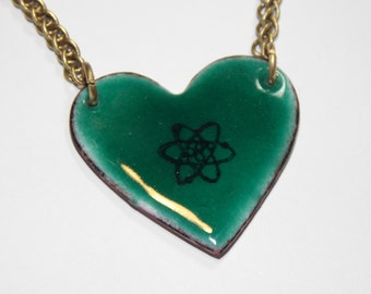 Science Is My One True Love - Gorgeous Geekery Atom Heart Pendant in Custom Color - Chemistry, Physics - Great Geeky Gift!