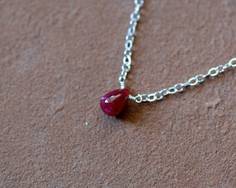 Ruby Necklace, Dainty Ruby Pendant, Delicate Sterling Silver Chain