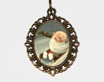 Elf Necklace, Toboggan, Elves, Christmas Jewelry, Gnome, Winter, Oval Pendant