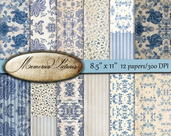 Digital Scrapbooking Papers pack, blue wallpaper,  Decoupage, oriental ,  Digital Collage Sheets   Download, 8.5 x 11 inch 41us