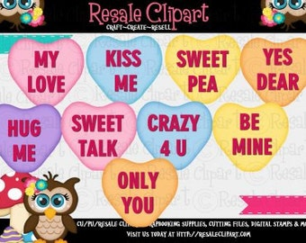 Valentine Heart Convos 1 Clipart (Digital File Download)