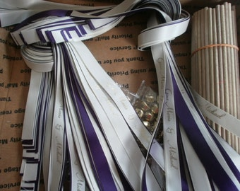 75 Personalized DIY wedding ribbon wands, Double strands of ribbon, gold or silver bell.  You finish it off.