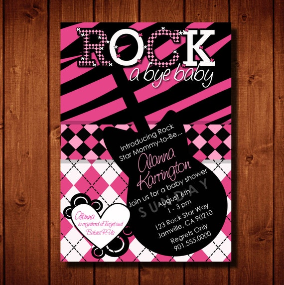 Rock Star Mommy To Be Rock A Bye Baby Baby Shower Digital File or Add 5x7 Prints Front & Back