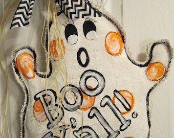 Burlap Ghost Boo Door Hanging Decoration for Halloween Boo Y'all