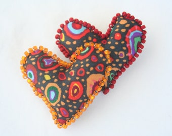 Valentines Day Double Heart Pin  - Soft Sculpture Hearts Red Black