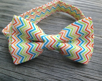 SALE - Boy's Rainbow Bow Tie - Rainbow Chevron Bow Tie - Cake Smash Photo Prop - Easter Bow Tie - Ties for Babies - Ties for Newborns
