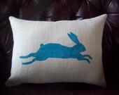 Bunny Pillow - STUFFED Burlap Pillow - Decorative Pillow - Leaping Bunny Pillow - Rabbit Pillow - Easter Pillow - Color Choice - Bunny Decor
