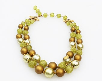 Vintage Green and Gold Double Strand Bead Necklace