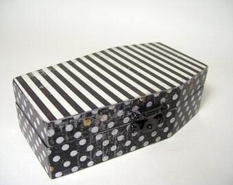 Stripes Dots Black Coffin Trinket Box Decoupage