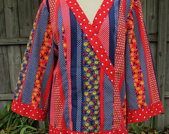 vintage 60s multi color multi pattern shirt top L bell sleeves mod hippie boho  too cool