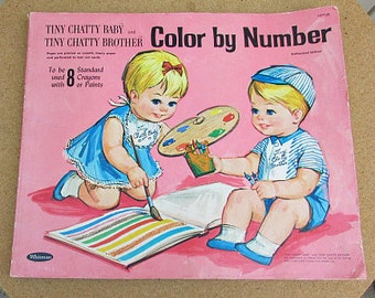 vintage 60s tiny chatty baby and tiny chatty brother color by number coloring book whitman publishing