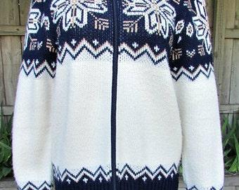 vintage 70s st michael uk zip up cardigan sweater 38 navy ivory snowflake ski sweater preppy