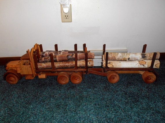 Logging Truck with Pup Handcrafted Wooden