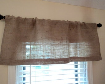 "Burlap Valance 38"" up to 120"" or Custom Size Available Rustic Home Decor Cottage Style Decor Farmhouse Window Treatment"