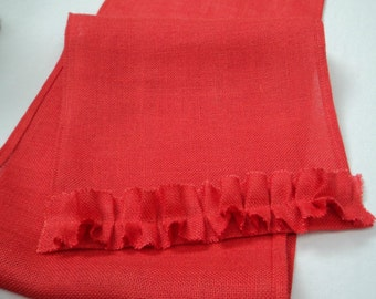 Coral Table Runner with Ruffles Coral Burlap Table Runner