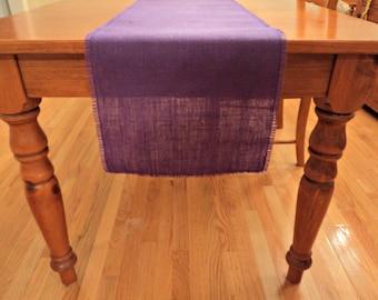 Purple Burlap Table Runner Dark Purple Table Runner Custom Size Available Purple Wedding Decor