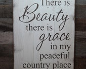 Large Wood Sign - There is Beauty There is Grace - Subway Sign