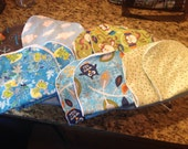 Set of 10 burp cloths in boy fabrics
