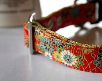 Red kimono design Dog Collar
