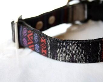 IKAT Dog Collar - Black, purple, gray