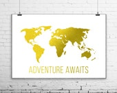 Adventure Awaits, Travel Quote World Map Print, Nursery Art Print Poster, Gilded Office Decor, Minimalist Art, Gold Leaf Imitation, golden