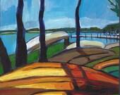 "Minneapolis, Minnesota, Original Painting, Lake Harriet Canoes, 8"" x 8"""