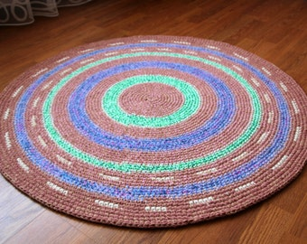 Lovely hand crochet round rug, 40'' in diameter, perfect for a nursery, READY TO SHIP