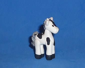 Polymer clay Little Black and White Paint Horse