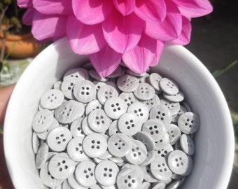 "Grey Buttons 13mm 4 Hole 1/2"" 48 Pieces Gray Plastic Small Bulk Lot"