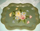 Vintage Sage Green Floral Toleware Tray
